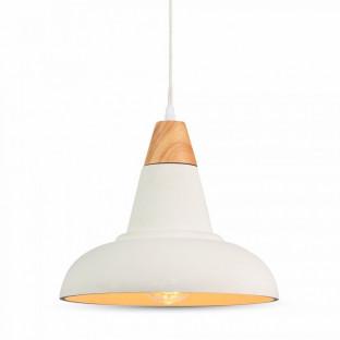LED Пендел, бетон, E27, бяла шапка, дърво, ф300