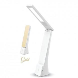 LED Настолна лампа, бяло и златно, презаредима, 4W
