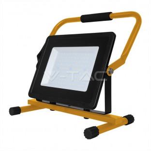 100W LED Прожектор със стойка, плюс Щепсел, Черно Тяло, Бяла Светлина