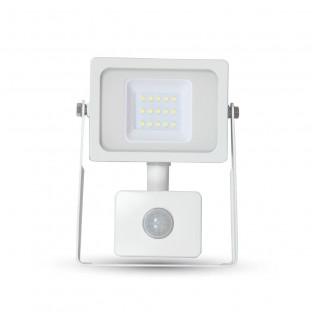 10W LED Прожектор, SMD Сензор, Бяло Тяло, Топло Бяла Светлина