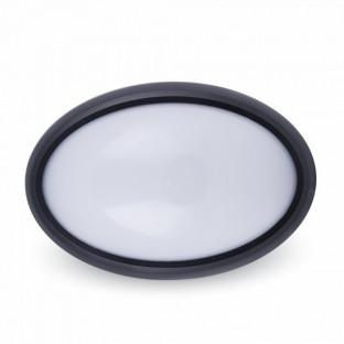 LED Овал Плафониера- 12W, Черно Тяло, Външен Монтаж, IP66, Дневна Светлина