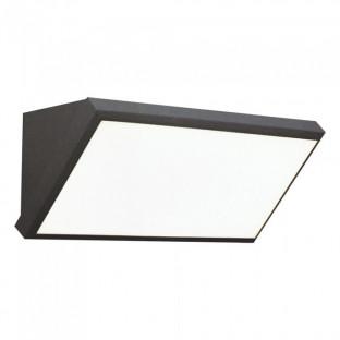 LED Фасаден Аплик - 12W, Сив, Ъглов, IP65, Топло бяла светлина