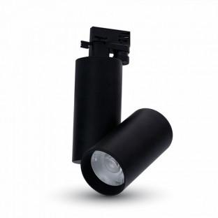 LED Прожектор - 15W, Релсов монтаж, Черно тяло, Бяла светлина