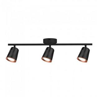 LED Тройна спот лампа - 18W, Черно тяло, Топло бяла светлина