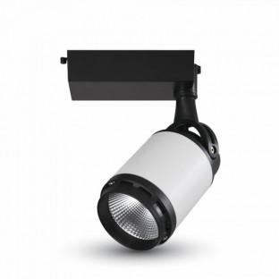 LED Прожектор - 25W, Релсов монтаж, Черно бяло тяло, Бяла светлина