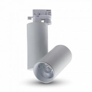 LED Прожектор  - 30W, Релсов монтаж, Бяло тяло, Бяла светлина