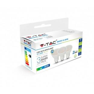 LED Крушка SMD - 5W, GU10, Пластик, Топло бяла светлина, 3 броя сет