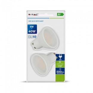 LED Крушка SMD - 6W, GU10, Пластик, Топло бяла светлина, 2 броя сет