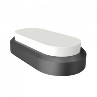 LED Dome light - 8W, Rectangle oval, Black body, IP54, Warm white light