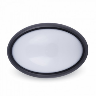 LED Овално Тяло - 12W, Външен монтаж, Черно тяло, Бяла светлина