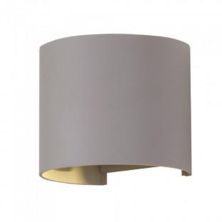 LED Wall Lamp - 6W, Day white, Circle, Grey body, IP65