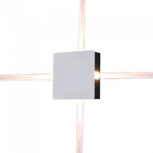 LED Стенна лампа - 4W, Бяло тяло, Квадрат, Топло бяла светлина