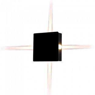 LED Стенна лампа - 4W, Черно тяло, Квадрат, Топло бяла светлина
