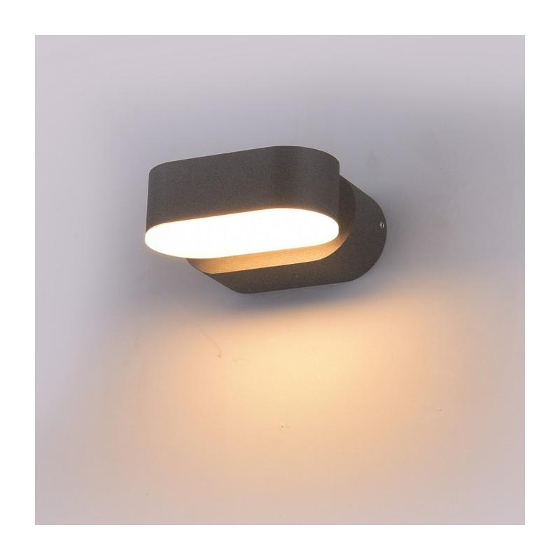 LED Стенна лампа - 6W, Сиво тяло, Подвижна, Дневна светлина
