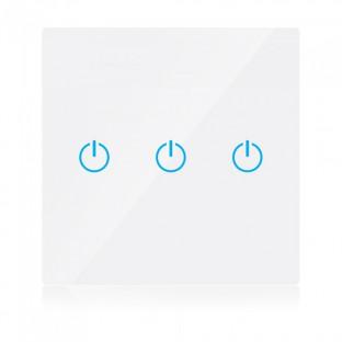 WIFI Smart touch ключ - Сериен, Бял, Троен, Съвместим с Amazon Alexa и Google Home