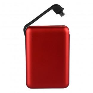 Външна батерия с вграден кабел 5000 mAh - червена