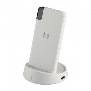 Външна батерия 8000 mAh с включена зарядна станция - безжично зареждане, дисплей, бяла