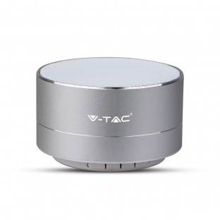 Metal bluetooth speaker with mic - 400 mAh, TF slot, silver