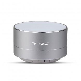 Метална bluetooth колонка с микрофон - 400 mAh, TF слот, сребро