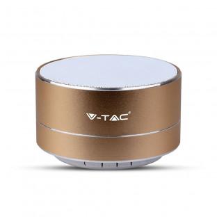 Метална bluetooth колонка с микрофон - 400 mAh, TF слот, златен цвят