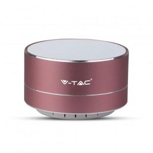 Метална bluetooth колонка с микрофон - 400 mAh, TF слот, розова