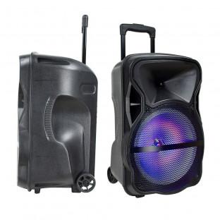 Преносима колона - 50W, включени жичен и безжичен микрофон, RGB LED цветове