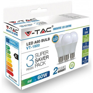 LED Bulb - E27, 9W, A60, Thermoplastic, 3 peaces/packung, Warm white