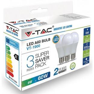 LED Крушка - E27, 9W, A60, Термоластик, комплект 3 броя, Топло бяла светлина