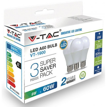 LED Крушка - E27, 9W, A60, Термопластик, комплект 3 броя, Топло бяла светлина