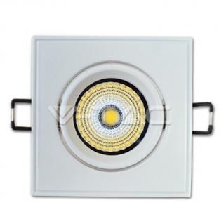 LED Downlight – 5W, COB chip, Square,  Adjustable,  White body, White