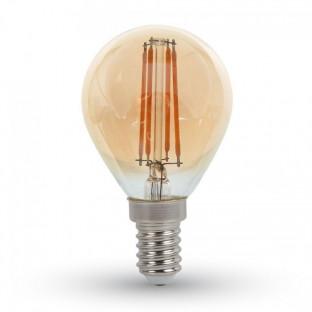 LED Крушка - E14, 4W, P45, Кехлибар, Топло бяла светлина