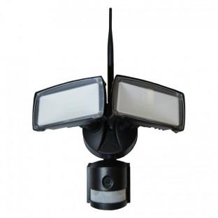 LED Прожектор с камера- 18W, WiFi, Сензор за движение, Бяла светлина, черно тяло